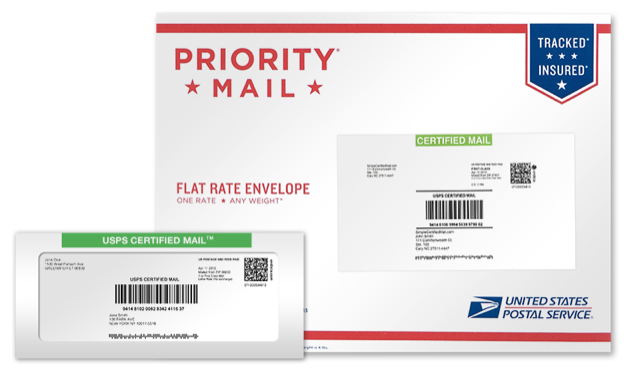 Image of Certified Mail envelope and label