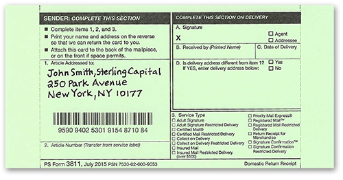 Image of USPS Green Card