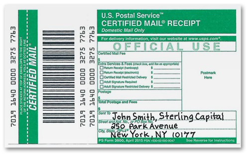 Image of Certified Mail receipt
