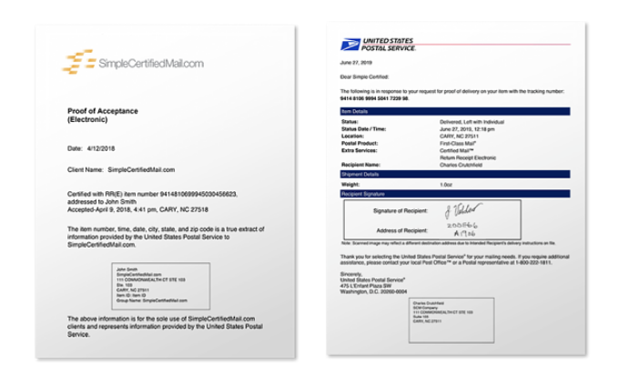 Image of Certified Mail Proof of Acceptance doc and Return Receipt Electronic