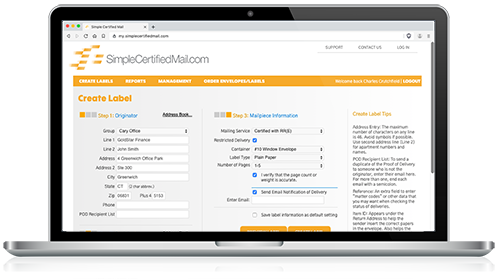 Create a Certified Mail cover sheet or label with SimpleCertifiedMail.com