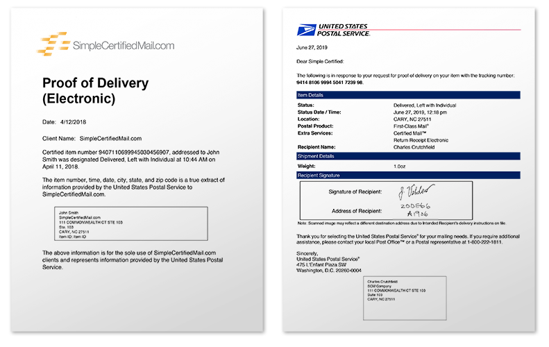 Proof of Delivery and Signature - SimpleCertifiedMail.com