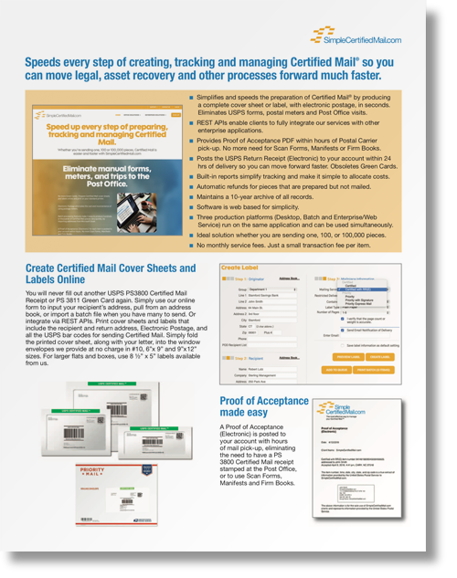 SimpleCertifiedMail.com Brochure
